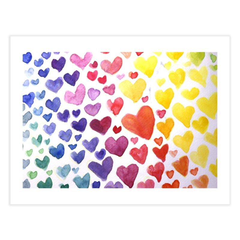 Rainbow Hearts Home Fine Art Print by BubbSnugg