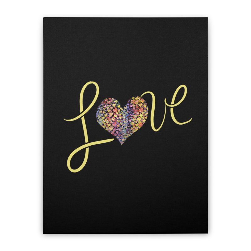 LOVE rainbow heart Home Stretched Canvas by BubbSnugg