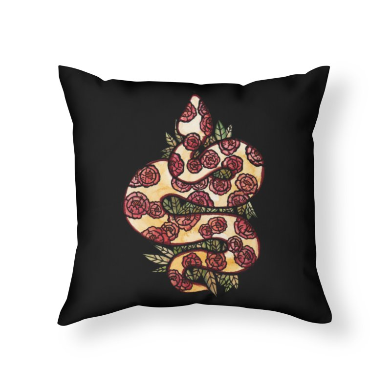 Floral Snake Home Throw Pillow by BubbSnugg