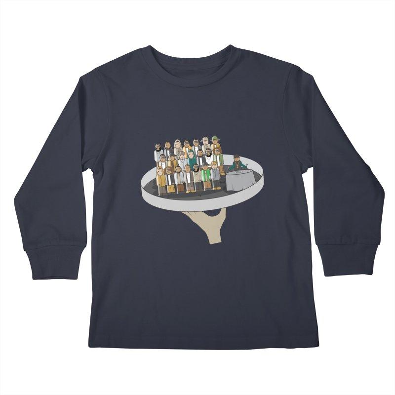 Line 'Em Up! Kids Longsleeve T-Shirt by Buckeen