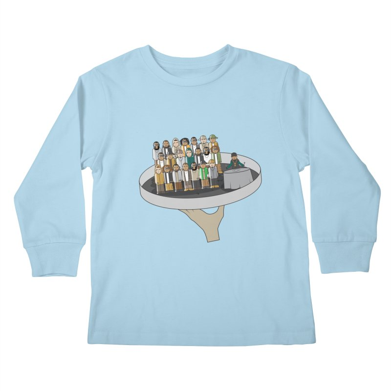 Line 'Em Up! Kids Longsleeve T-Shirt by Buckeen