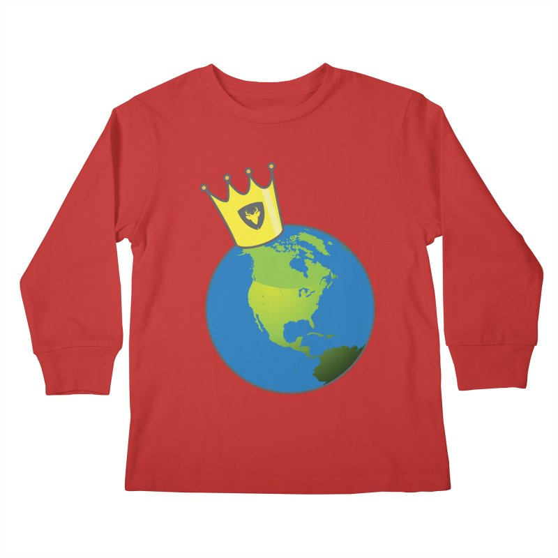 King of the World Kids Longsleeve T-Shirt by Buckeen