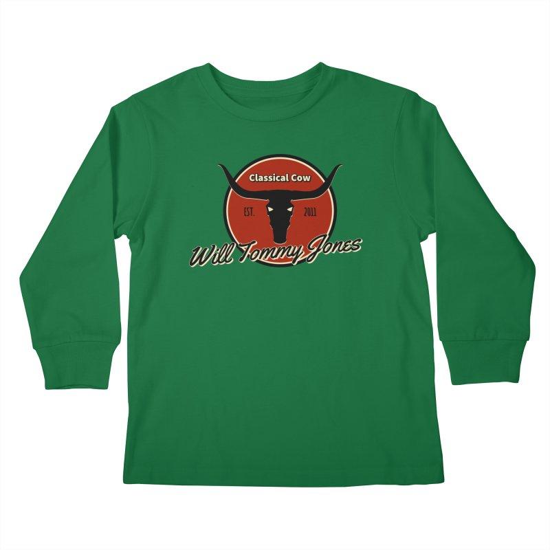 WTJ Cow Design II Kids Longsleeve T-Shirt by Will's Buckin' Stuff