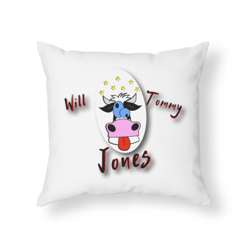 Nutty Cow Tee Home Throw Pillow by Will's Buckin' Stuff
