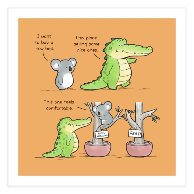 Buddy Gator - Shopping For A New Bed Home Fine Art Print by Buddy Gator's Artist Shop