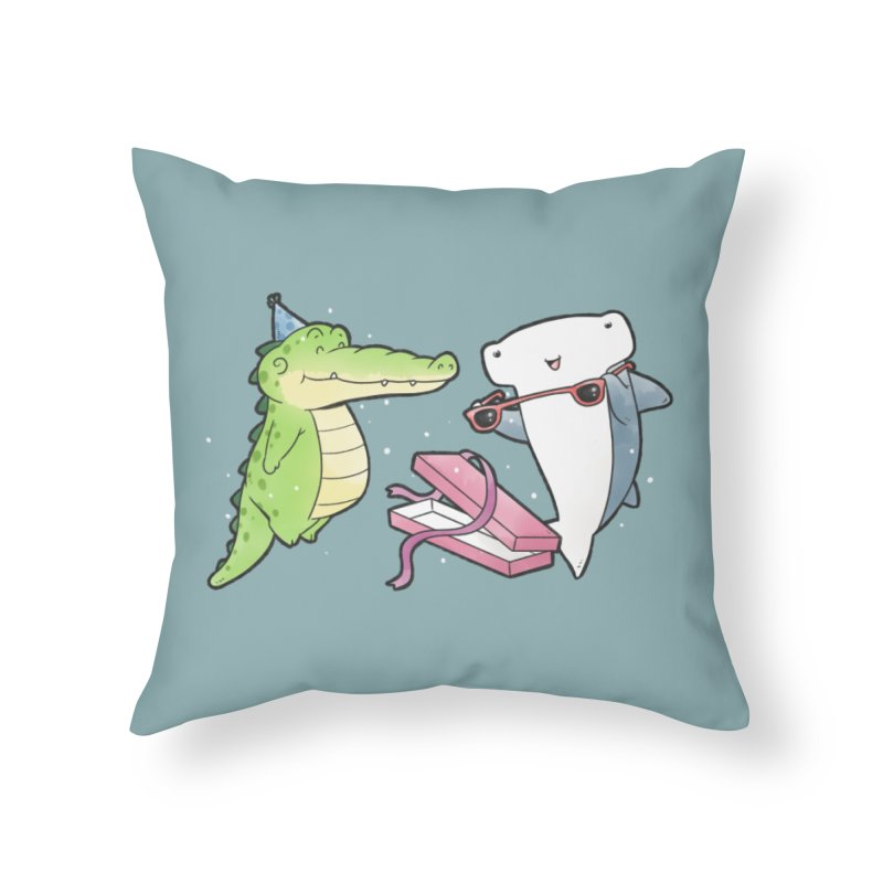 Buddy Gator - Birthday Gift, Shark Home Throw Pillow by Buddy Gator's Artist Shop