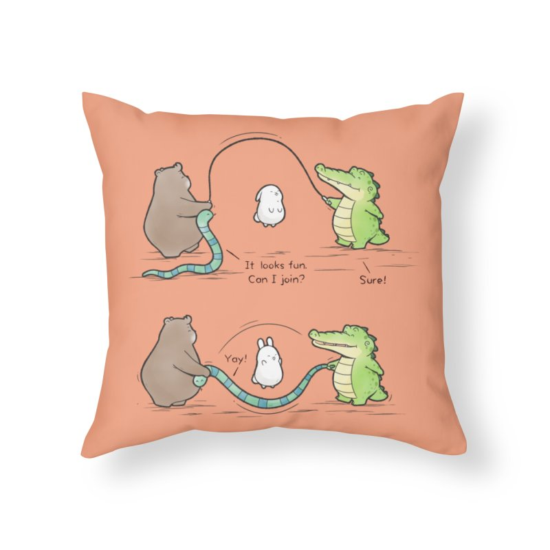 Buddy Gator - Jumping Rope Home Throw Pillow by Buddy Gator's Artist Shop