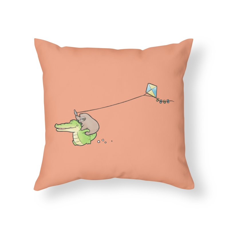 Buddy Gator, Sloth - Fly A Kite Home Throw Pillow by Buddy Gator's Artist Shop