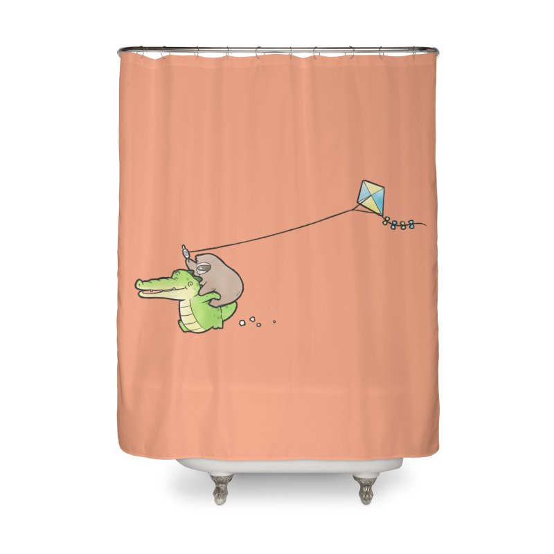 Buddy Gator, Sloth - Fly A Kite Home Shower Curtain by Buddy Gator's Artist Shop