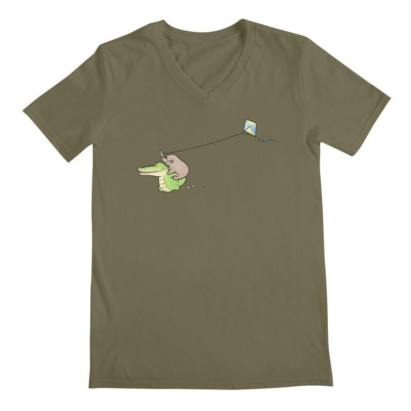 Buddy Gator, Sloth - Fly A Kite Men's V-Neck by Buddy Gator's Artist Shop
