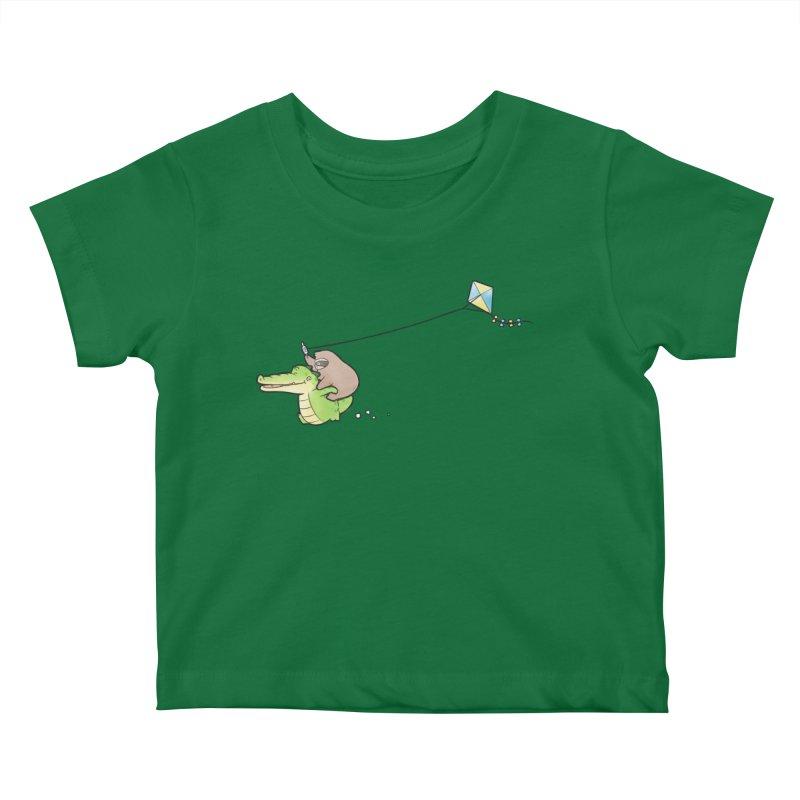 Buddy Gator, Sloth - Fly A Kite Kids Baby T-Shirt by Buddy Gator's Artist Shop