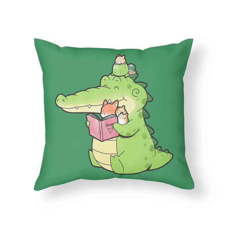 Buddy Gator - Reading Time Home Throw Pillow by Buddy Gator's Artist Shop
