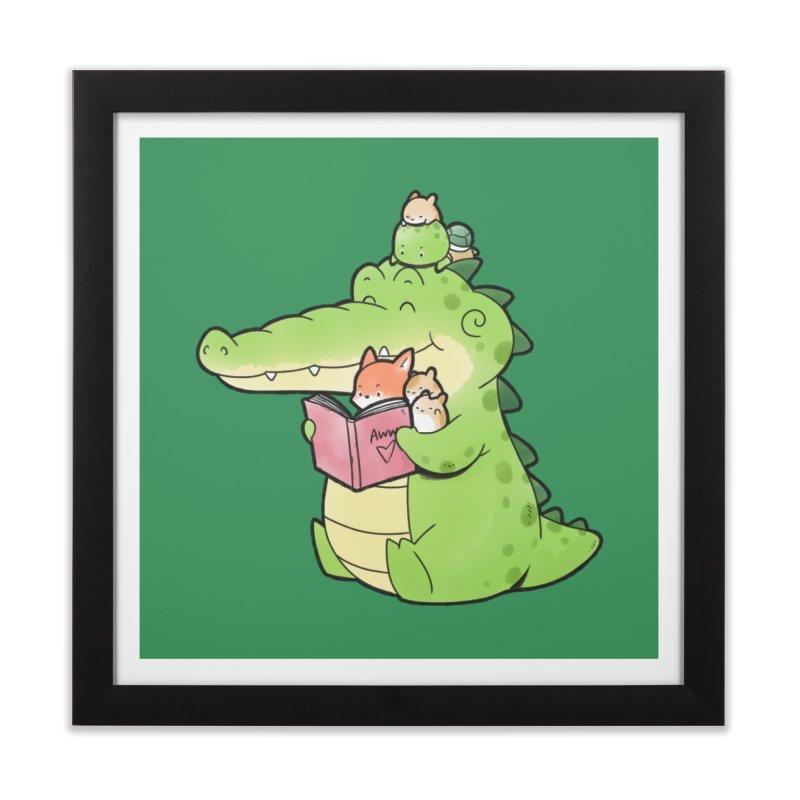 Buddy Gator - Reading Time Home Framed Fine Art Print by Buddy Gator's Artist Shop