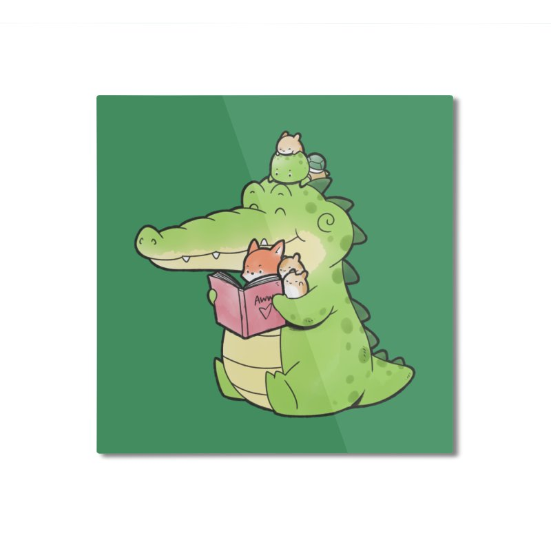 Buddy Gator - Reading Time Home Mounted Aluminum Print by Buddy Gator's Artist Shop
