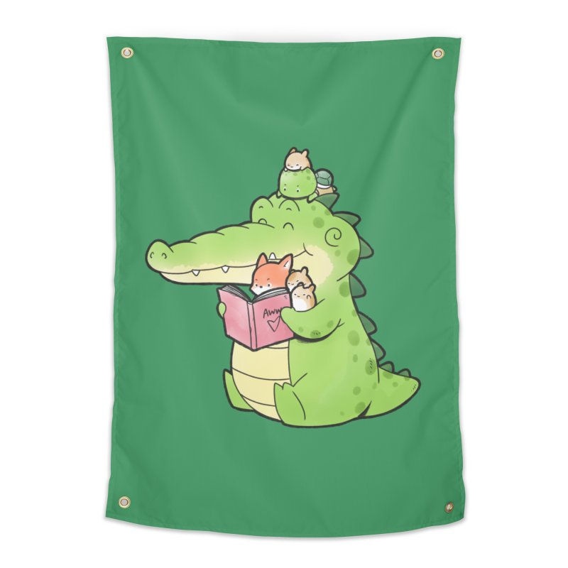 Buddy Gator - Reading Time Home Tapestry by Buddy Gator's Artist Shop