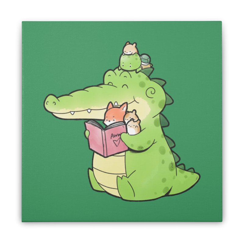 Buddy Gator - Reading Time Home Stretched Canvas by Buddy Gator's Artist Shop