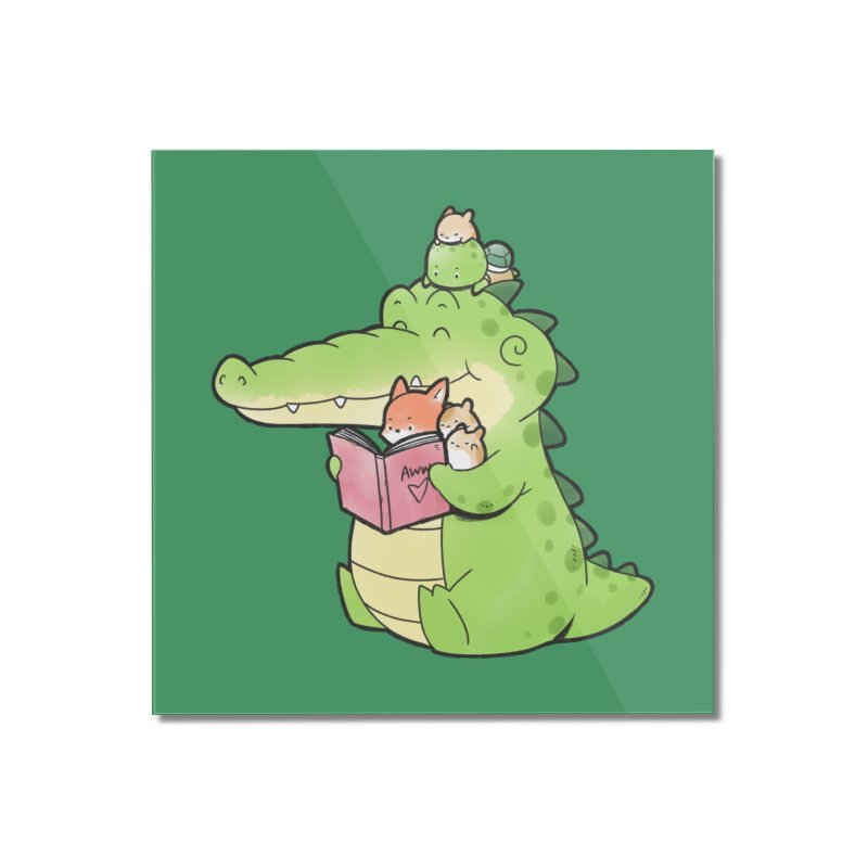 Buddy Gator - Reading Time Home Mounted Acrylic Print by Buddy Gator's Artist Shop