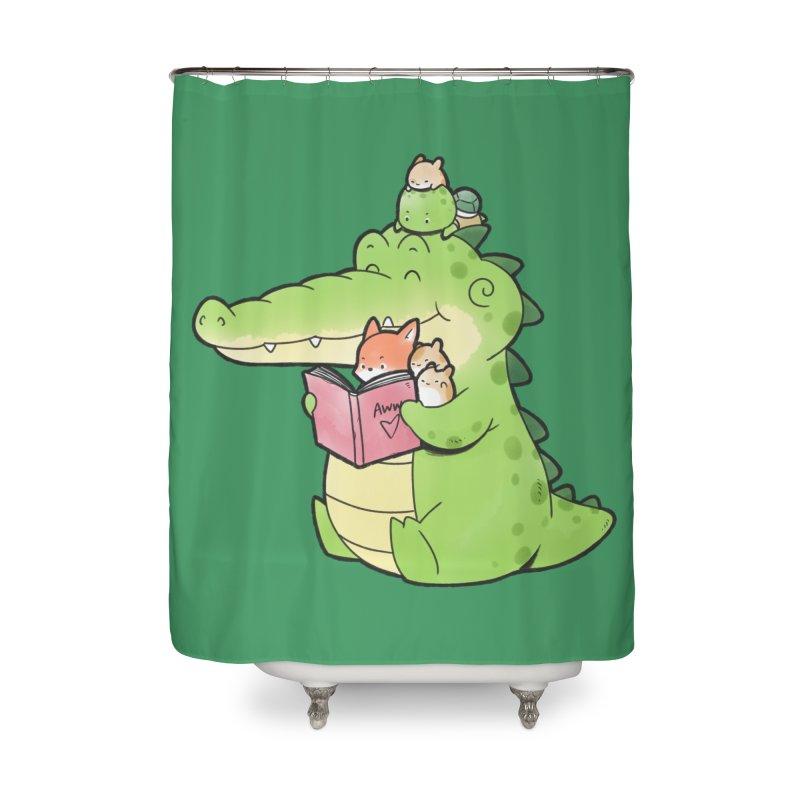 Buddy Gator - Reading Time Home Shower Curtain by Buddy Gator's Artist Shop