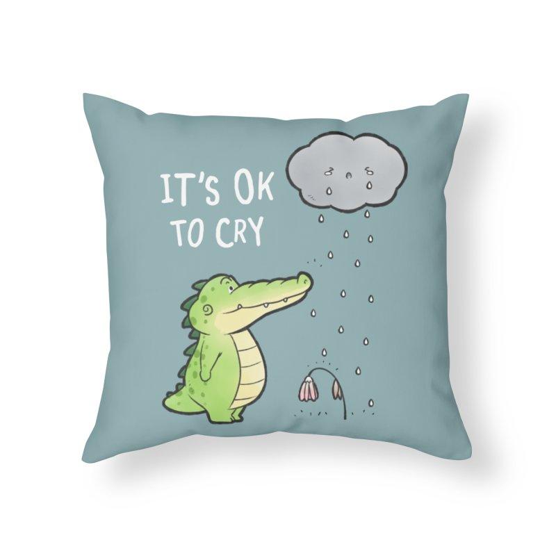 Buddy Gator - It's Ok To Cry, Cloud Home Throw Pillow by Buddy Gator's Artist Shop
