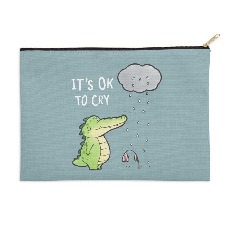 Buddy Gator - It's Ok To Cry, Cloud Accessories Zip Pouch by Buddy Gator's Artist Shop