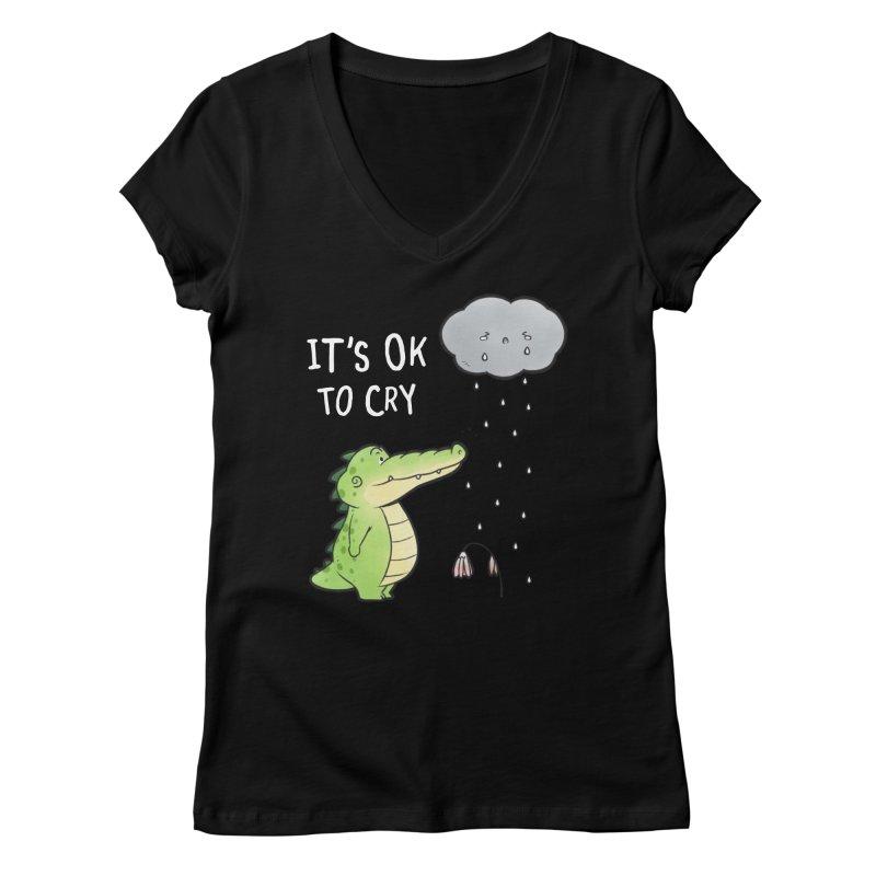 Buddy Gator - It's Ok To Cry, Cloud Women's V-Neck by Buddy Gator's Artist Shop