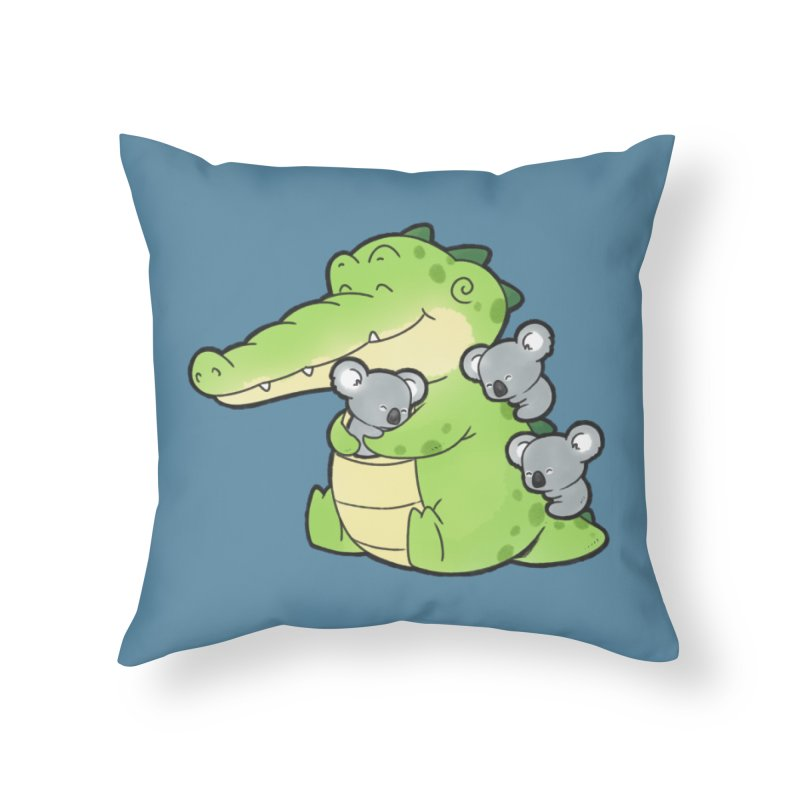 Buddy Gator - Hugs Home Throw Pillow by Buddy Gator's Artist Shop