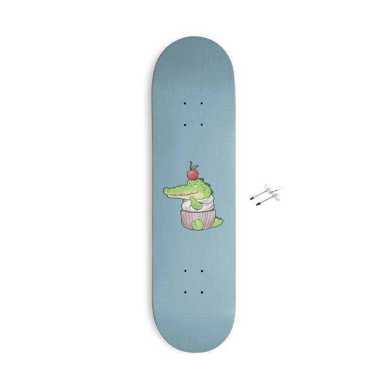 Buddy Gator - Cupcake Lover Accessories Skateboard by Buddy Gator's Artist Shop