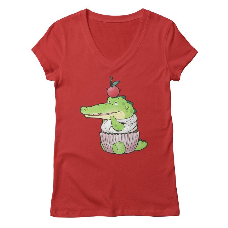 Buddy Gator - Cupcake Lover Women's V-Neck by Buddy Gator's Artist Shop