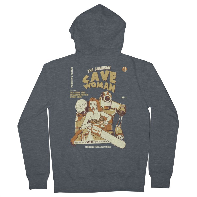 Chainsaw Cavewoman Men's Zip-Up Hoody by buddynishi's Artist Shop