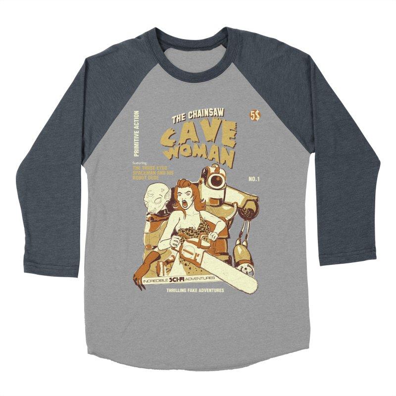 Chainsaw Cavewoman Women's Baseball Triblend T-Shirt by buddynishi's Artist Shop