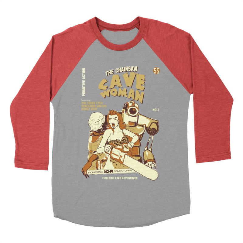 Chainsaw Cavewoman Men's Baseball Triblend T-Shirt by buddynishi's Artist Shop