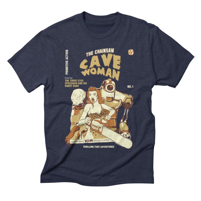 Chainsaw Cavewoman Men's Triblend T-shirt by buddynishi's Artist Shop