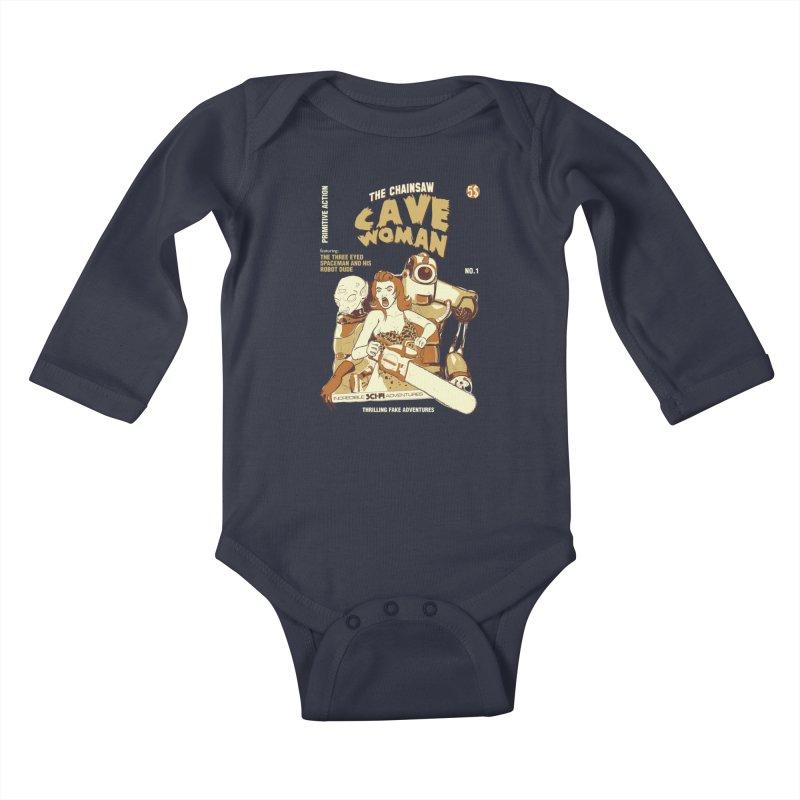 Chainsaw Cavewoman Kids Baby Longsleeve Bodysuit by buddynishi's Artist Shop