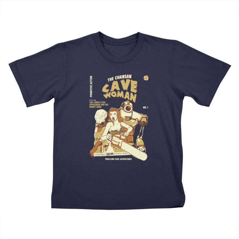 Chainsaw Cavewoman Kids T-shirt by buddynishi's Artist Shop