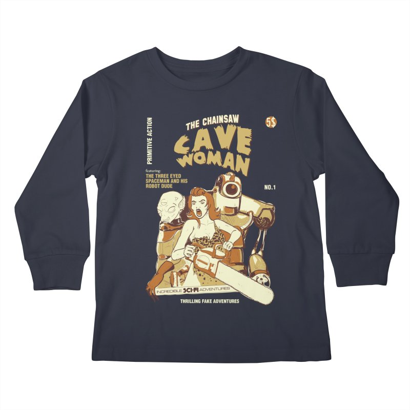 Chainsaw Cavewoman Kids Longsleeve T-Shirt by buddynishi's Artist Shop
