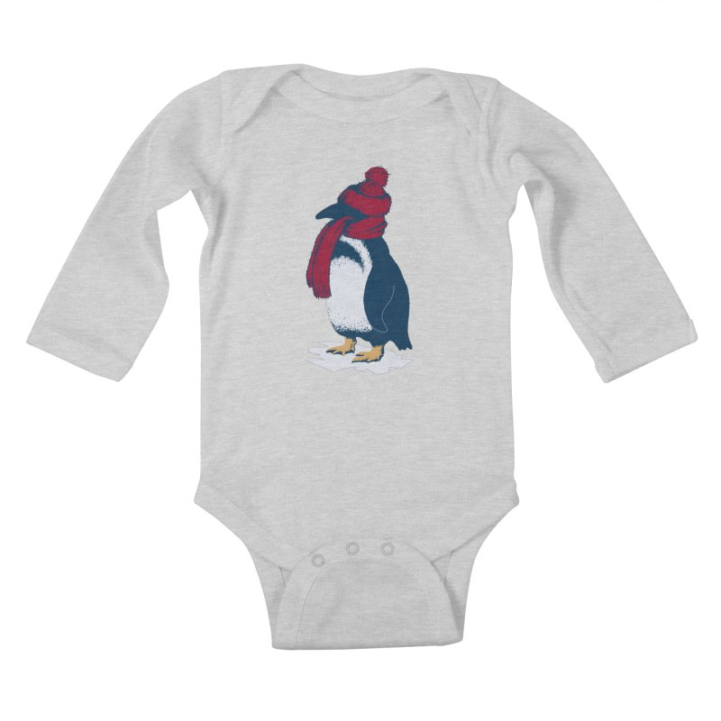 The Penguin has a cold Kids Baby Longsleeve Bodysuit by The Bulgrin Shop