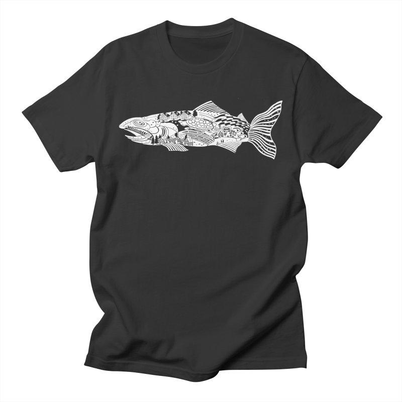 Fish Tale - In White! in Men's Regular T-Shirt Smoke by BullShirtCo