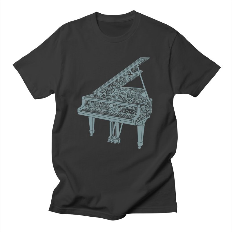 Piano Playing  - grey ink in Men's Regular T-Shirt Smoke by BullShirtCo
