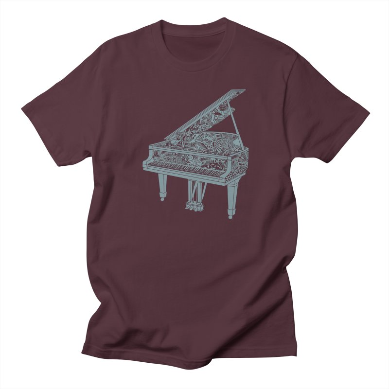 Piano Playing  - grey ink in Men's Regular T-Shirt Maroon by BullShirtCo