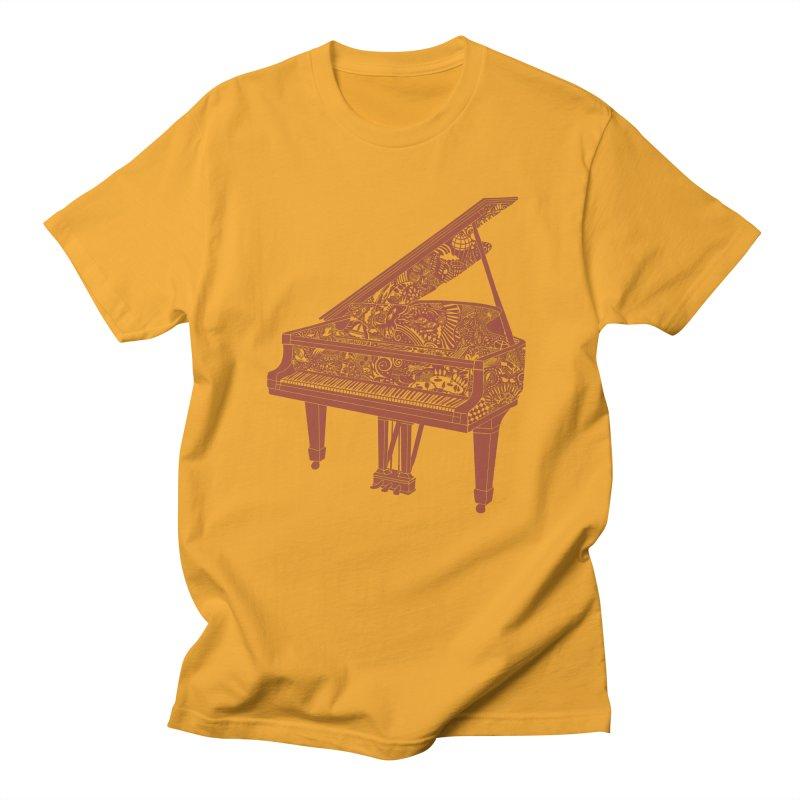 Piano Playing  - dark red ink in Men's Regular T-Shirt Gold by BullShirtCo
