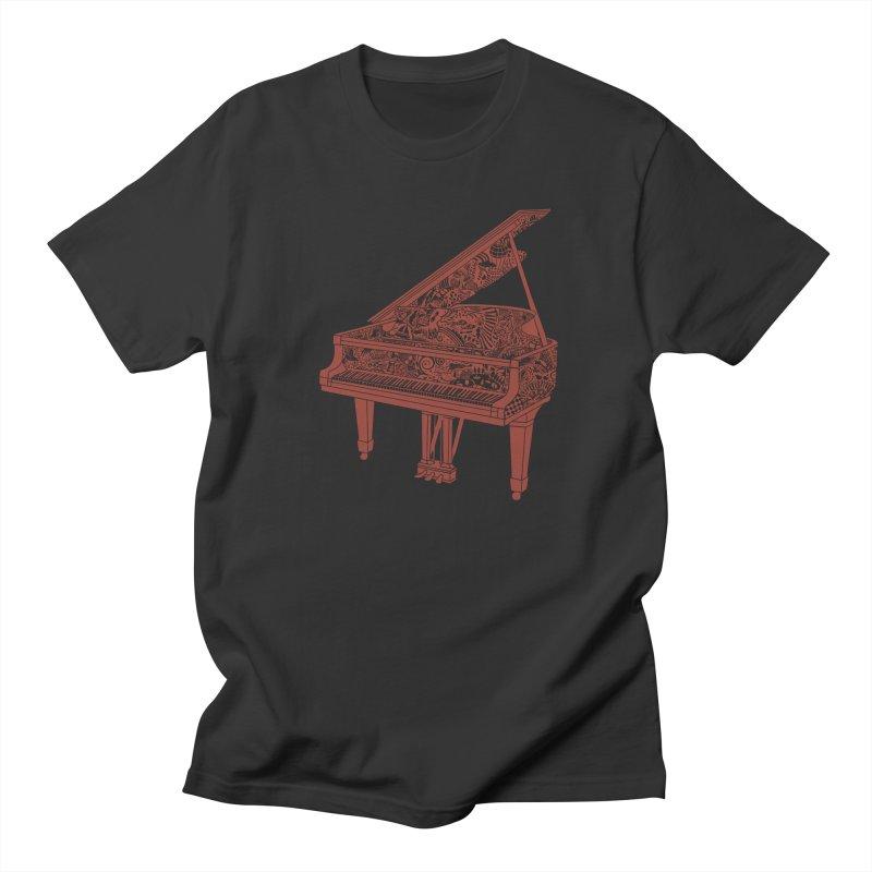 Piano Playing  - dark red ink in Men's Regular T-Shirt Smoke by BullShirtCo