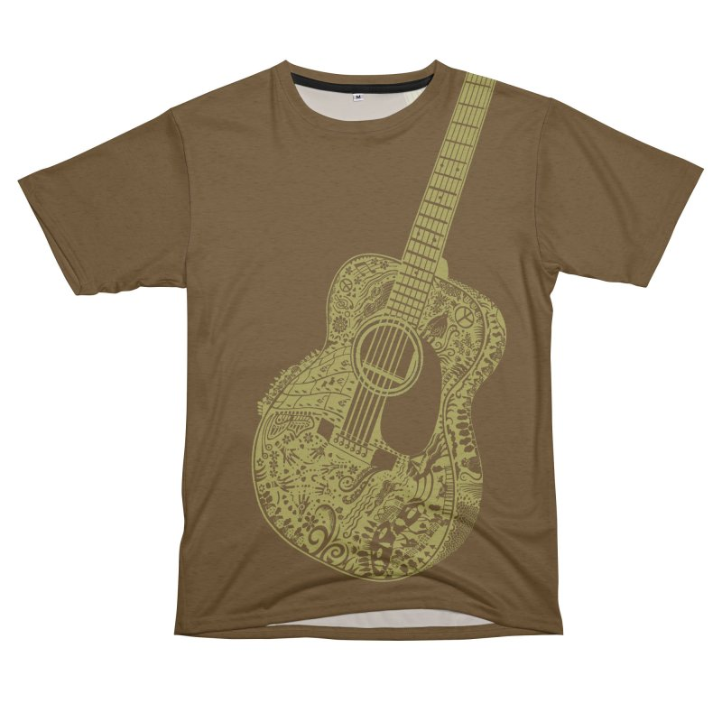 Air Acoustic Guitar Art! So big it goes over your shoulder onto your back. Play with your favorites! Women's Unisex French Terry T-Shirt Cut & Sew by BullShirtCo