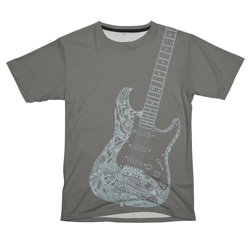 Air Electric Guitar Art! So big it goes over your shoulder onto your back. Play with your favorites! Women's Unisex French Terry T-Shirt Cut & Sew by BullShirtCo