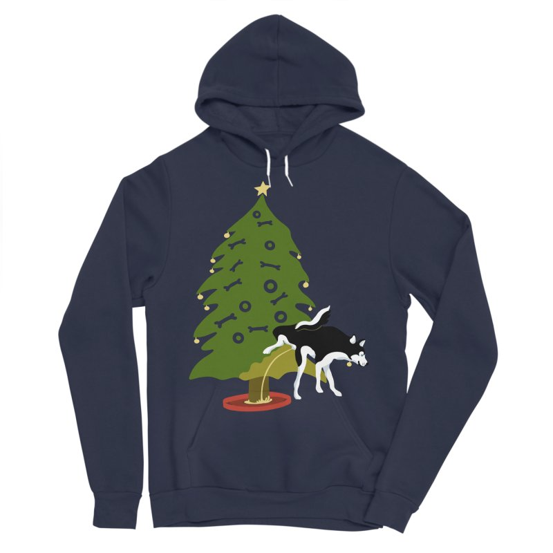 My Dog's Christmas Tree Husky! Women's Sponge Fleece Pullover Hoody by BullShirtCo