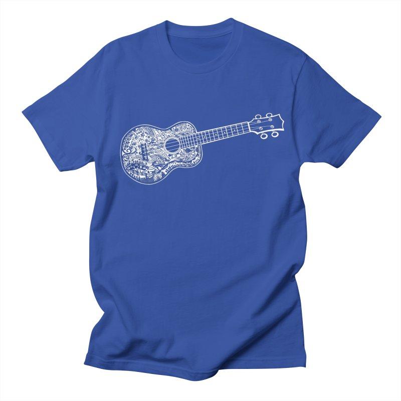 My Ukulele- White Ink! in Men's Regular T-Shirt Royal Blue by BullShirtCo