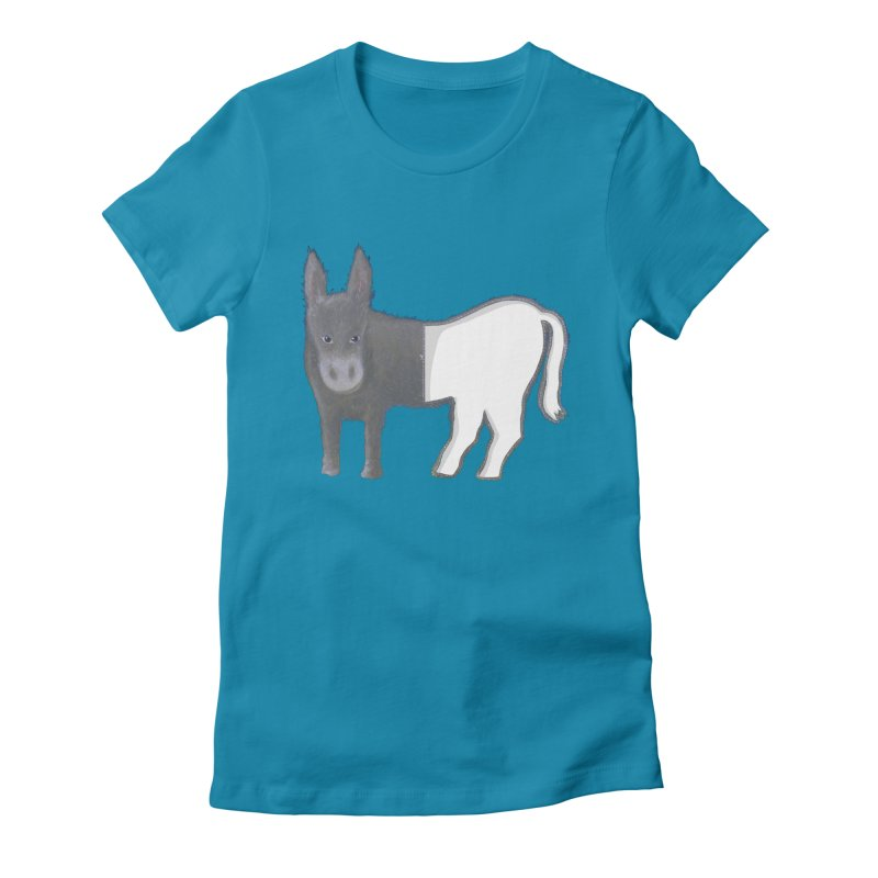 Half Assed in Women's Fitted T-Shirt Turquoise by BullShirtCo