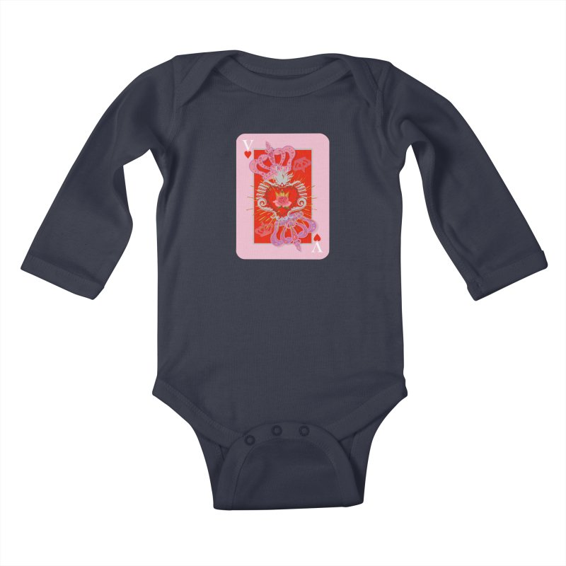 The V of Hearts! Kids Baby Longsleeve Bodysuit by BullShirtCo
