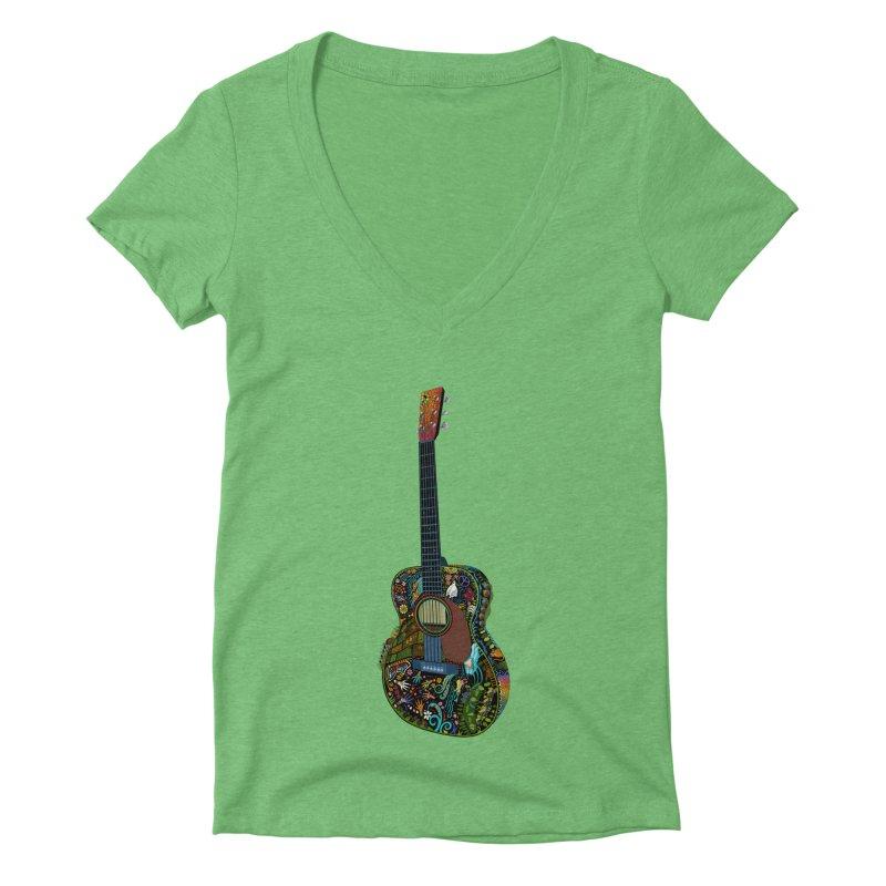 Eric's Martin Guitar Full Colour! Women's Deep V-Neck V-Neck by BullShirtCo