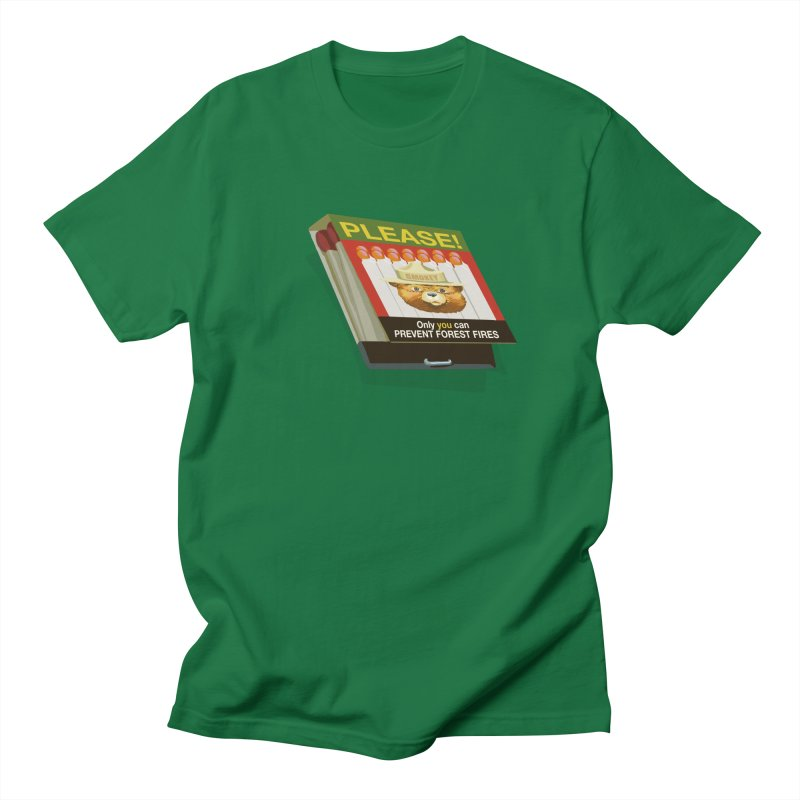 Smokey the Bear's Matches in Men's Regular T-Shirt Kelly Green by BullShirtCo