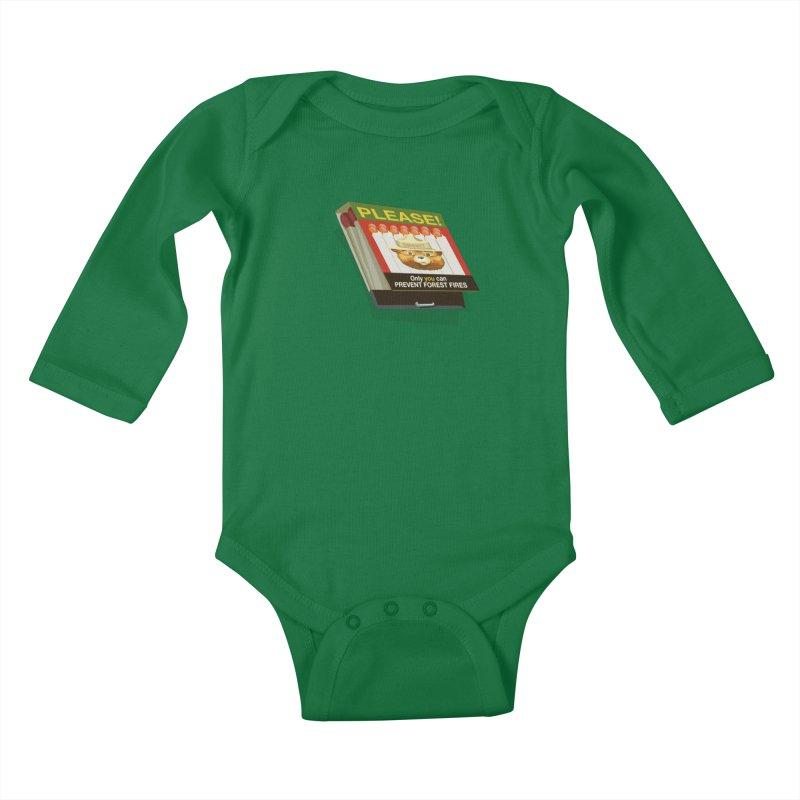 Smokey the Bear's Matches Kids Baby Longsleeve Bodysuit by BullShirtCo